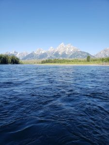 A head-on view of Grand Teton while floating the Snake River