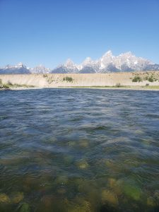 Grand Teton National Park and a moraine on a Snake River float trip